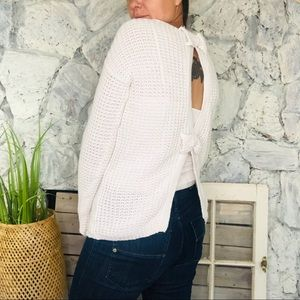 Open Back Bow Chunky Oversized Knit Sweater Small